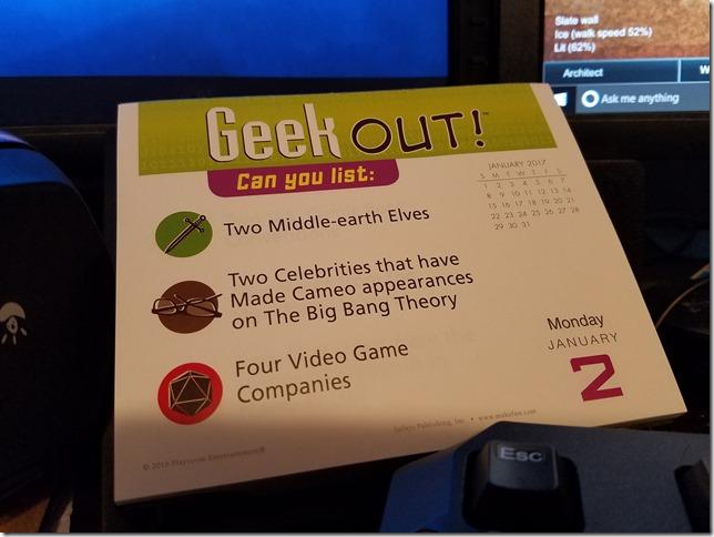 2017-01-02 Geekout