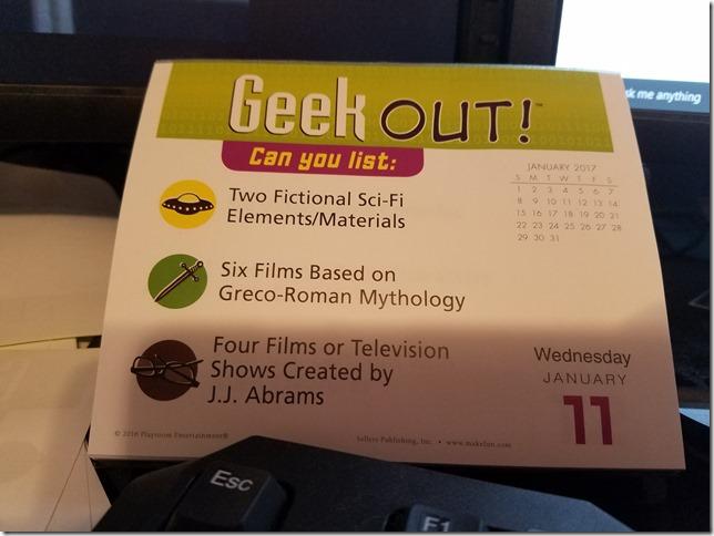 2017-01-11 Geekout